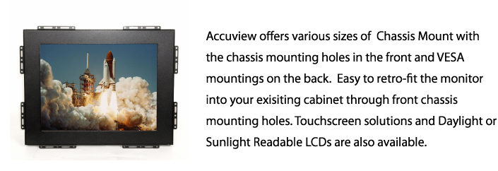 Accuview Enclosed durable Chassis Mount LCD